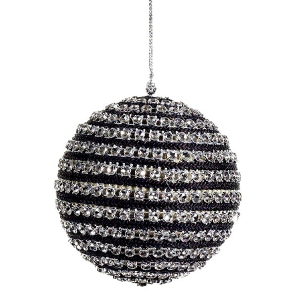 """4"""" Contemporary Striped Black and Silver Sequined Christmas Ball Ornament"""