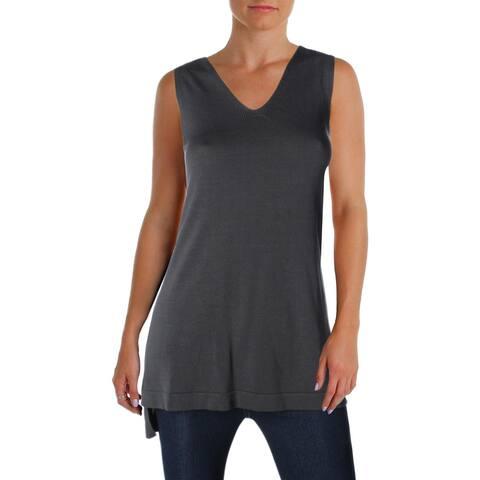 Eileen Fisher Womens Tank Top Sweater Tencel V-Neck - Graphite - XXS