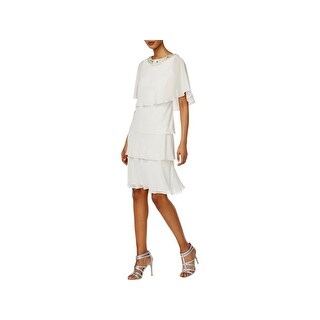 SLNY Womens Dress With Jacket Chiffon Tiered