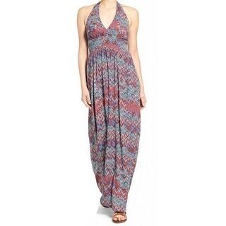 Ella Moss NEW Red Womens Size XS Mixed-Print Halter Sheath Dress