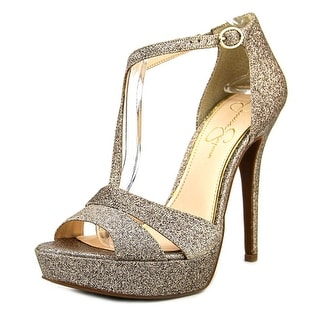 Jessica Simpson Beryl Women Open Toe Synthetic Gold Platform Heel