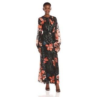 GUESS Sheer Printed Long Sleeve Maxi Dress - s
