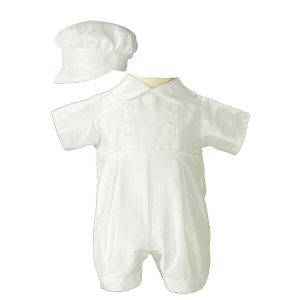 Baby Boys White Off-White Silk Short Sleeve Bonnet Christening Romper