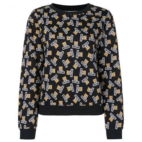 MOSCHINO Underwear Womens Navy Blue Teddy Bear Fleece Sweatshirt Top