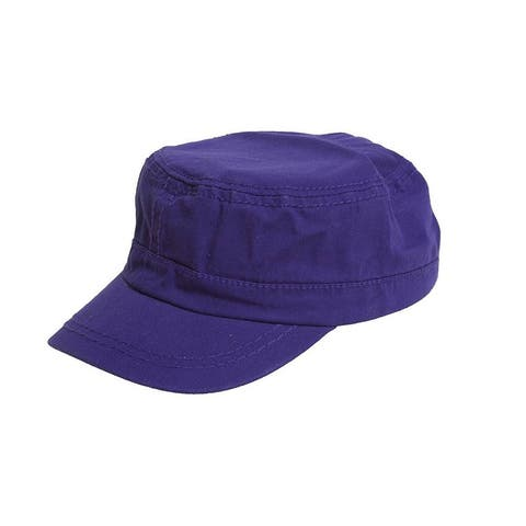 Women's Washed Military Cadet Style Cap - Purple