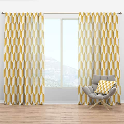 Designart 'Gold And White Geometric Pattern I' Mid-Century Modern Curtain Panel