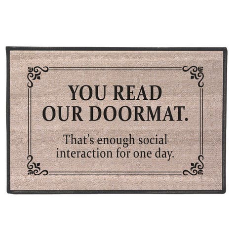 That's Enough Social Interaction for One Day Welcome Mat Doormat, 17 x 18 Inch - Beige