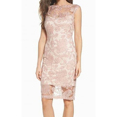 Tadashi Shoji Pink Silver Womens Size 16 Corded Lace Sheath Dress
