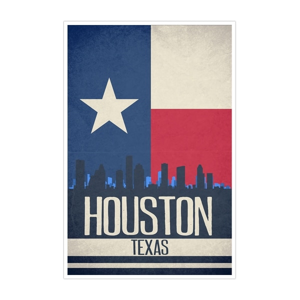 Houston State Flag Skylines Matte Poster 24x36