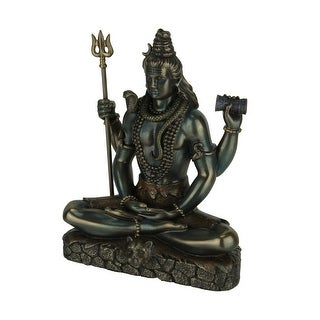 Hindu God Shiva Lord of Divine Energy Holding Trident and Damaru Statue - 6 X 4.75 X 2.5 inches
