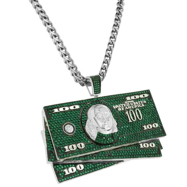 Iced Out Hundred Dollar Bill Pendant Green Lab Diamonds Steel Franco Chain