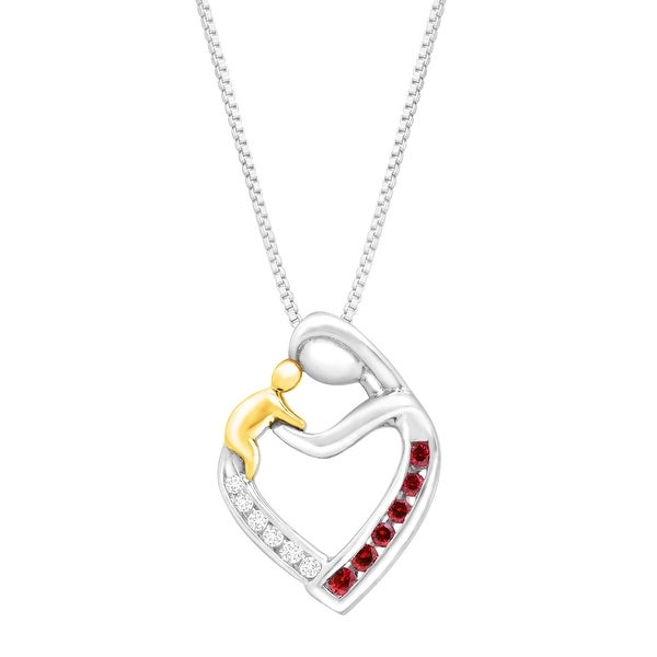 1/5 ct Created Ruby Mother & Child Pendant with Diamonds in 14K Gold and Sterling Silver