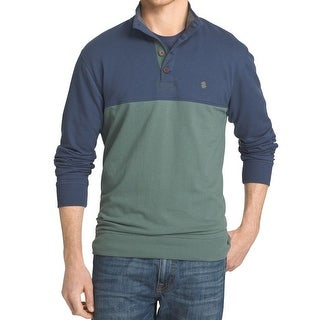 IZOD NEW Green Mens Size Medium M Colorblock Mock-Neck Henley Sweater