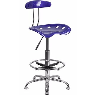 Offex Vibrant Deep Blue and Chrome Drafting Stool with Tractor Seat [OF-LF-215-DEEPBLUE-GG]