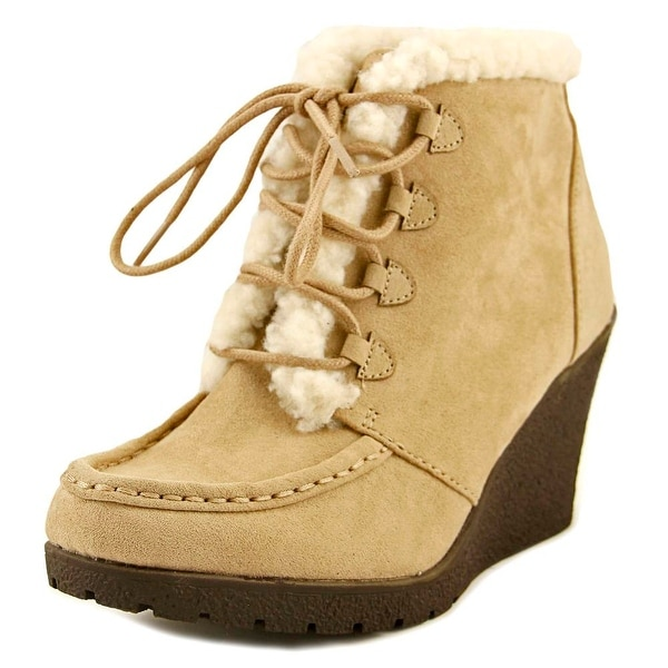 Sugar Mina Women Round Toe Canvas Nude Bootie