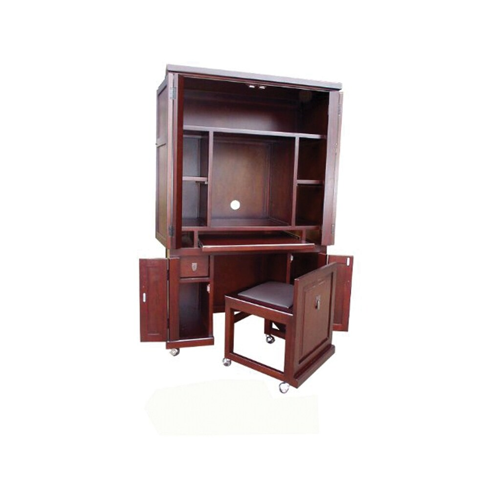 Offex Solid Mahogany Wood Computer Armoire With Pull Out Seat