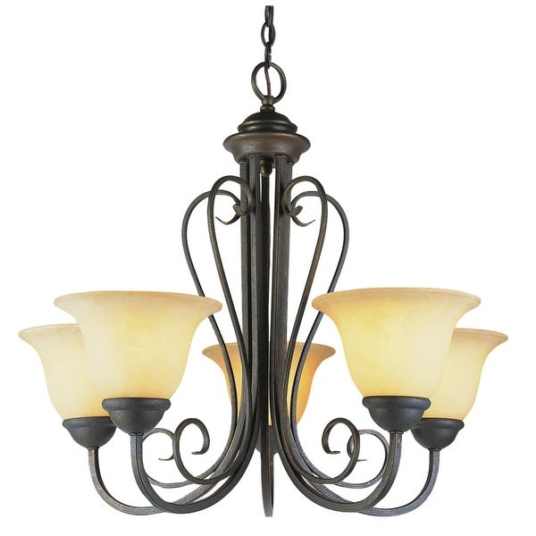 Trans Globe Lighting 6525 Five Light Up Lighting Chandelier from the New Century Collection - Gold