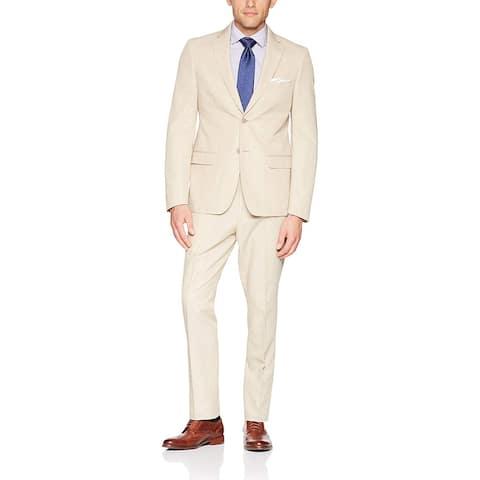 Calvin Klein Men's Mobridge Single Breast 2 Button Suit, TAN,, Tan, Size 46 Long - 46 Long