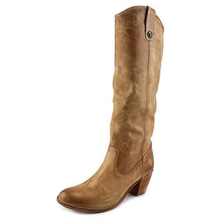 Frye Jackie Button Wide Calf Women Round Toe Leather Tan Knee High Boot
