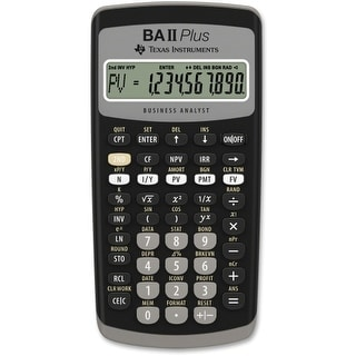 Texas Instruments BAIIPLUS Texas Instruments BA-II Plus Adv. Financial Calculator - 10 Digit(s) - LCD - Battery Powered -