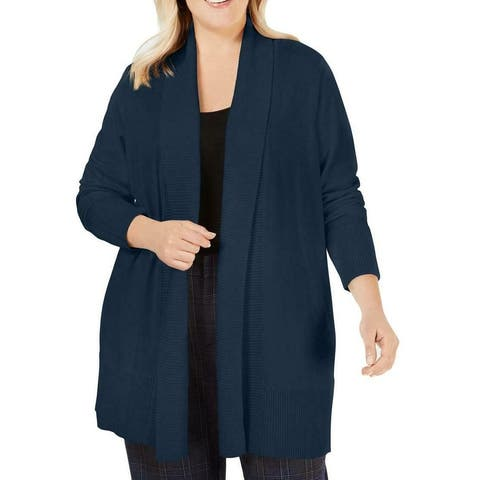 Charter Club Womens Sweater Blue Size 2X Plus Ribbed Cardigan Open Front