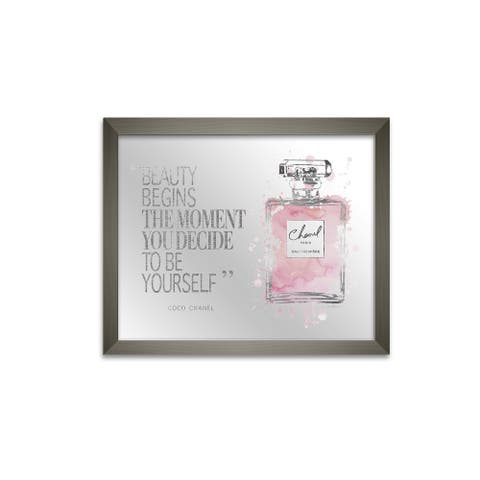 Stupell Industries Beauty Begins Quote Glam Fashion Bottle, 11 x 14