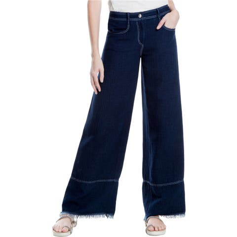 Max Studio London Womens Fringed Hem Wide Leg Jeans
