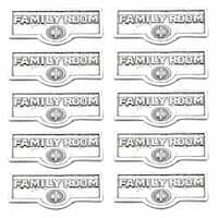 10 Switch Plate Tags FAMILY ROOM Name Signs Label Chrome Brass   Renovator's Supply