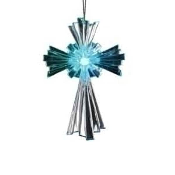 "4.5"" Rejoice Battery Operated LED Lighted Religious Cross Christmas Ornament"