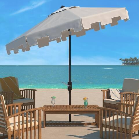 SAFAVIEH Zimmerman Market Beige Aluminum Tilt and Crank 9-foot Patio Umbrella With Flap