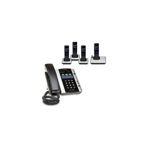 Polycom 2200-48500-001 VVX 501 12-line Business Media Phone with power supply & 4 VVX D60 Handset