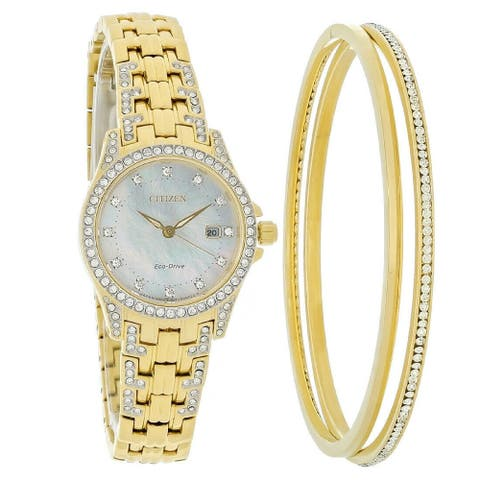 Citizen Women's EW1222-64D 'Silhouette' Gold-Tone Stainless Steel with Sets of Crystal Watch - Silver