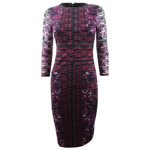 Kensie Women's Printed Lace Sheath Dress - Fuchsia/Black