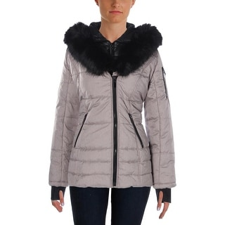 Wild Flower Womens Puffer Coat Hooded Faux Fur Trim