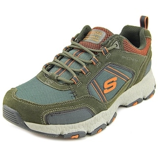 Skechers Burst Tech Men Round Toe Suede Green Sneakers