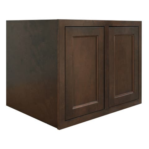 "Sunny Wood HBW3024-24-A Healdsburg Refrigerator 30"" x 24"" x 24"" Double Door Wall Cabinet - Rich Walnut"
