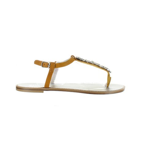 Badgley Mischka Womens Lucia Sunset Gold T-Strap Sandals Size 7.5
