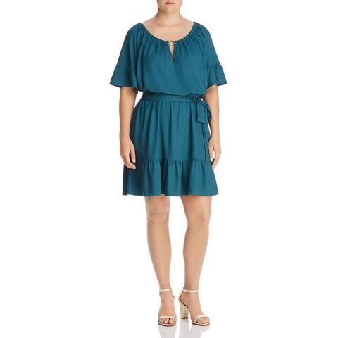 MICHAEL Michael Kors Womens Plus Shift Dress Ruffle Cut-Out - Atlantic