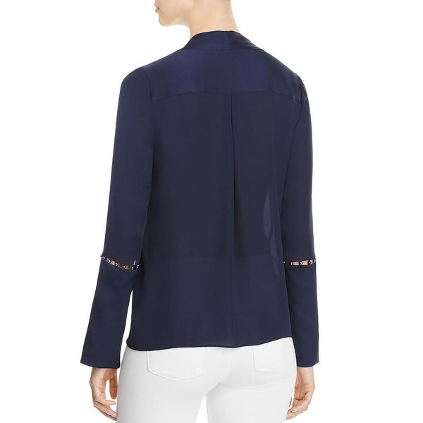 Elie Tahari Womens Deb Silk Embellished Blouse