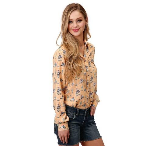 Roper Western Shirt Womens Cactus L/S Snap Yellow