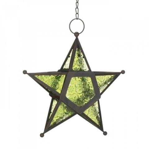 Green Glass Star Lantern