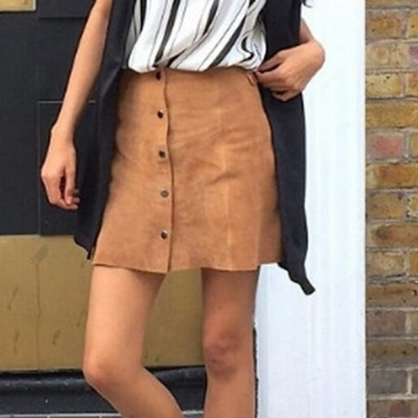 0791d9cadc24 Shop Suede Pleated A Button Skirts - Free Shipping On Orders Over ...