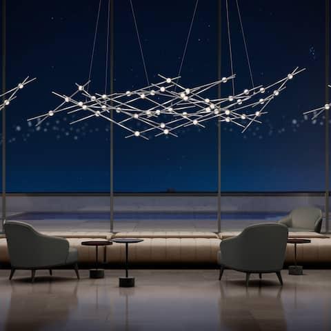 Sonneman Lighting Constellation 24-light Satin Nickel Pendant, Clear Faceted Shade