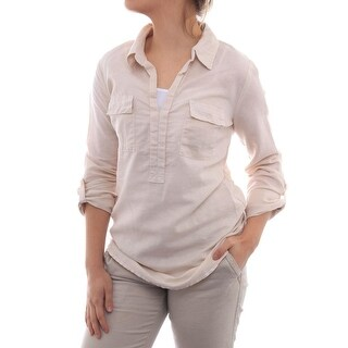 Splendid 3/4 Sleeve Mixed Media Top Women Regular Blouse
