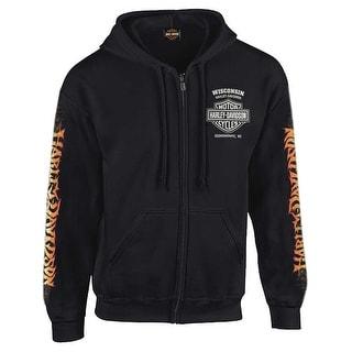 Harley-Davidson Men's Inferno Eagle Full-Zipper Hooded Sweatshirt, Black