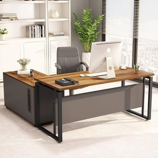 55 Inch L-Shaped Computer Desk with File Cabinet Storage