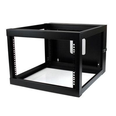 Startech 6U 22-Inch Hinged Open Frame Rack Cabinet Wallmount Server Rack Components Rk619walloh, Black