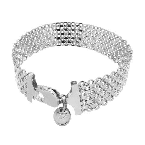 "Bronzoro 18 kt Gold Plated Women's White 8.25"" Wide Chain Bracelet"