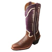 Twisted X Western Boots Womens Ruff Stock Walking Brown Violet