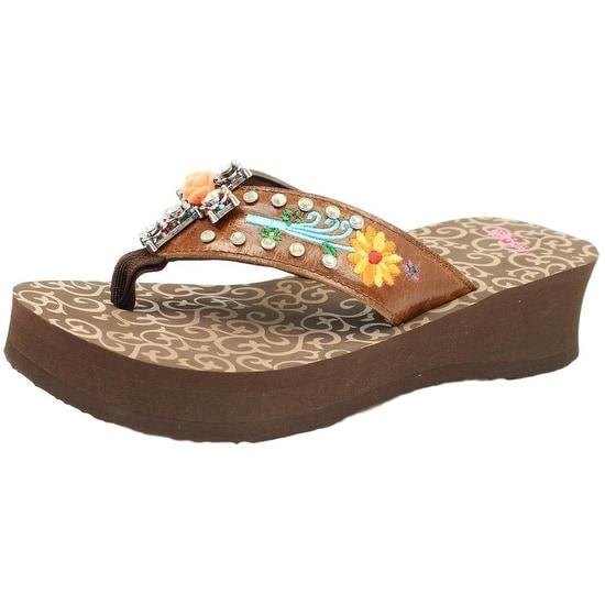 Blazin Roxx Western Shoes Womens Juley Flip Flops Cross Brown